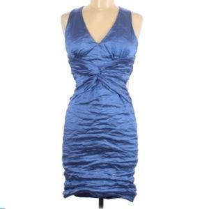 NWT Nicole Miller Ruched Blue Metallic Dress